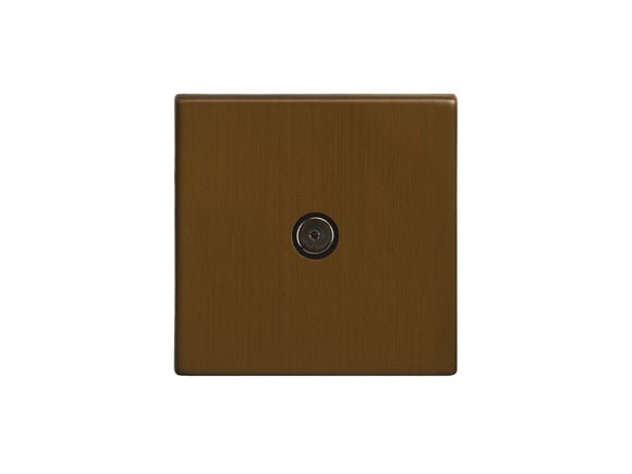 Focus SB Morpheus TV Co-Axial 1 Gang Socket Bronze Antique