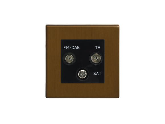 Focus SB Morpheus TV/FM/Satellite Triplex Socket Bronze Antique Black Insert