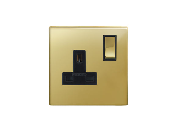 Focus SB Morpheus Switched 1 Gang Socket Polished Brass Black Insert