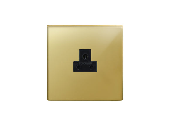 Focus SB Morpheus Unswitched 1 Gang Socket Polished Brass Black Insert
