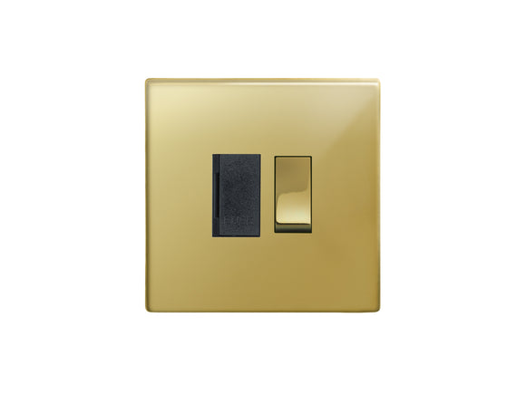 Focus SB Morpheus Switched 1 Gang Connection Unit Polished Brass Black Insert