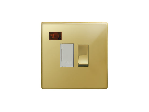 Focus SB Morpheus Switched 1 Gang c/w Neon Connection Unit Polished Brass White Insert