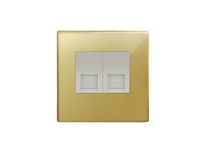 Focus SB Morpheus 2 Gang RJ45 8 Wire Cat 5 Socket Polished Brass White Insert
