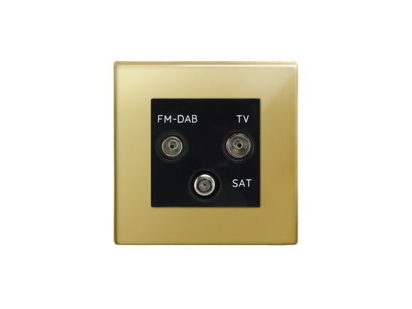 Focus SB Morpheus TV/FM/Satellite Triplex Socket Polished Brass Black Insert