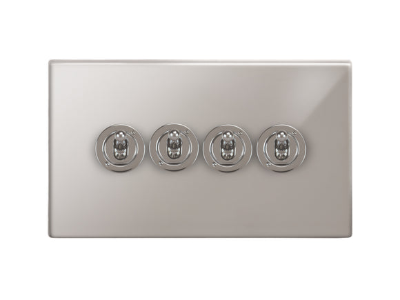 Focus SB Morpheus Dolly Grid 4 Gang 2 Way Switch Polished Steel