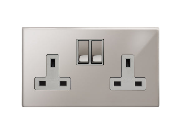 Focus SB Morpheus Switched 2 Gang Socket Polished Steel White Insert