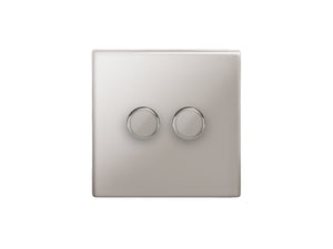 Focus SB Morpheus 2 Gang 2 Way Push On/Off Dimmer Switch Polished Steel