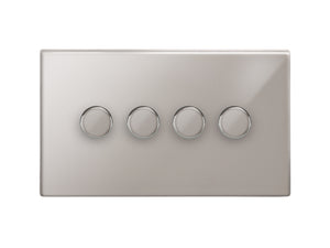 Focus SB Morpheus 4 Gang 2 Way Push On/Off Dimmer Switch Polished Steel