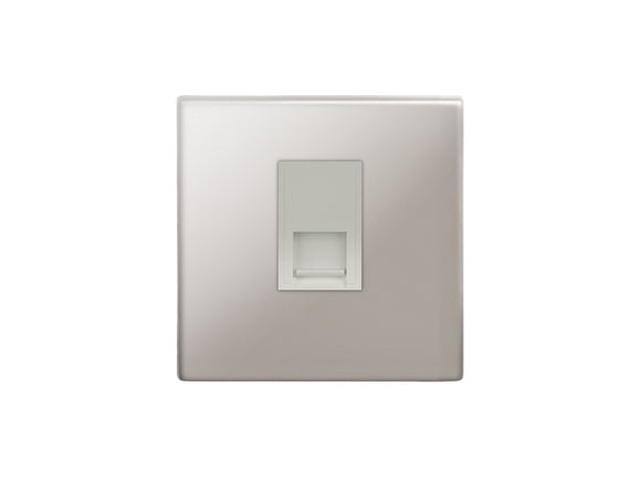 Focus SB Morpheus Telephone Master 1 Gang Socket Polished Steel White Insert