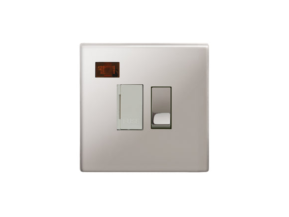 Focus SB Morpheus Switched 1 Gang c/w Neon Connection Unit Polished Steel White Insert
