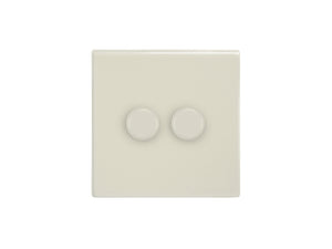 Focus SB Morpheus 2 Gang 2 Way Push On/Off Dimmer Switch Primed White