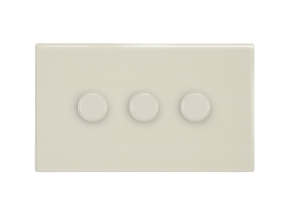 Focus SB Morpheus 3 Gang 2 Way Push On/Off Dimmer Switch Primed White
