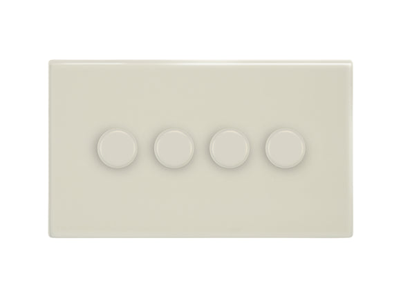 Focus SB Morpheus 4 Gang 2 Way Push On/Off Dimmer Switch Primed White