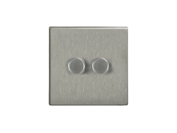 Focus SB Morpheus 2 Gang 2 Way Push On/Off Dimmer Switch Satin Steel