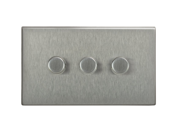Focus SB Morpheus 3 Gang 2 Way Push On/Off Dimmer Switch Satin Steel