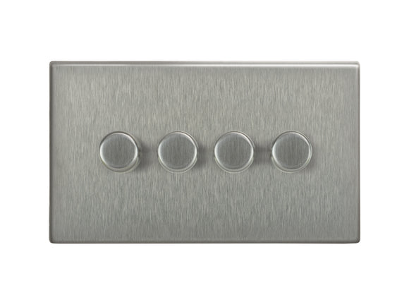 Focus SB Morpheus 4 Gang 2 Way Push On/Off Dimmer Switch Satin Steel