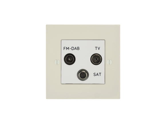 Focus SB Ambassador TV/FM/Satellite Triplex Socket Primed White Black Insert