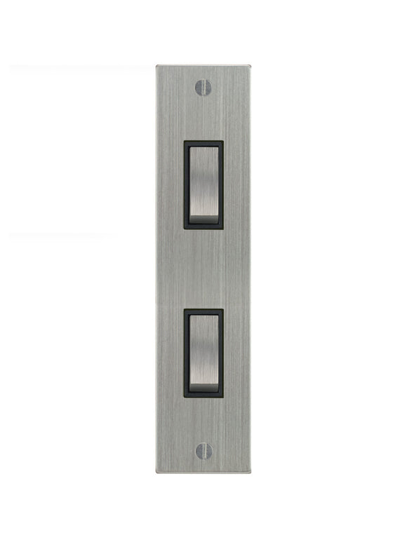 Focus SB Ambassador Architrave Grid 2 Gang 2 Way Switch Satin Chrome Black Insert