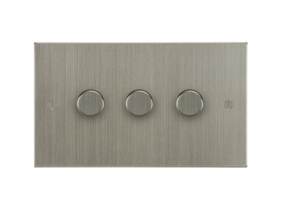 Focus SB Ambassador 3 Gang 250W 2 Way Push On/Off Dimmer Switch Satin Nickel