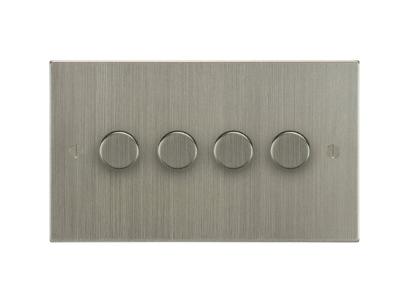 Focus SB Ambassador 4 Gang 250W 2 Way Push On/Off Dimmer Switch Satin Nickel