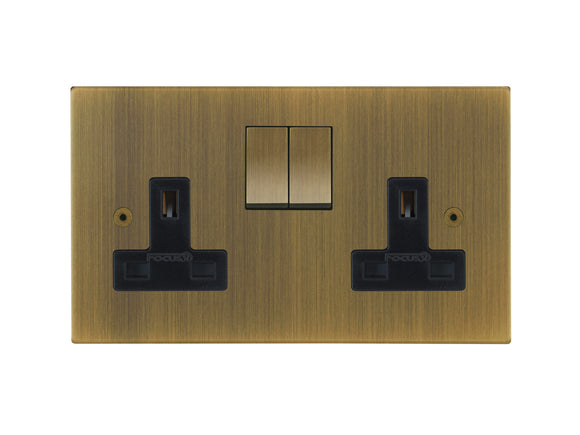 Focus SB Horizon Switched 2 Gang Socket Antique Brass Black Insert