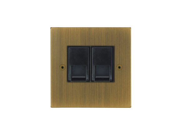 Focus SB Horizon Telephone Master 2 Gang Socket Antique Brass Black Insert