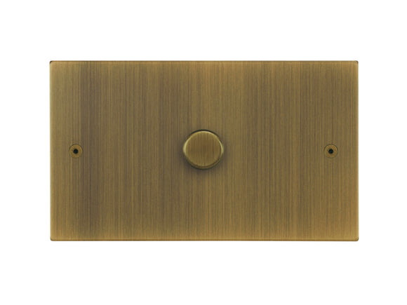 Focus SB Horizon 1 Gang 2 Way Push On/Off Dimmer Switch Antique Brass Twin Plate