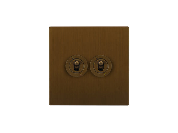 Focus SB Horizon Dolly Grid 2 Gang 2 Way Switch Bronze Antique
