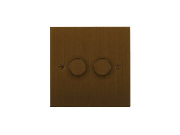 Focus SB Horizon 2 Gang 2 Way Push On/Off Dimmer Switch Bronze Antique