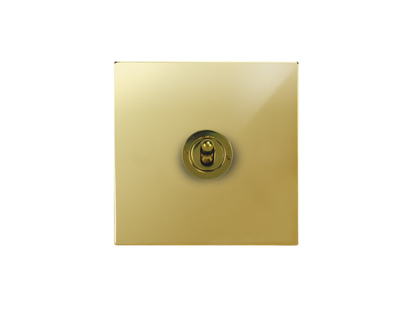 Focus SB Horizon Dolly Grid 1 Gang 2 Way Switch Polished Brass