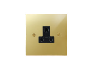 Focus SB Horizon Unswitched 1 Gang Socket Polished Brass Black Insert