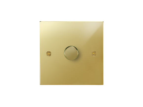 Focus SB Horizon 1 Gang 2 Way Push On/Off Dimmer Switch Polished Brass