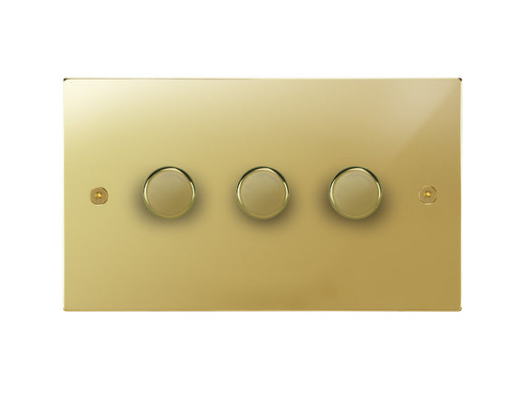 Focus SB Horizon 3 Gang 2 Way Push On/Off Dimmer Switch Polished Brass
