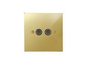 Focus SB Horizon TV Co-Axial 2 Gang Socket Polished Brass