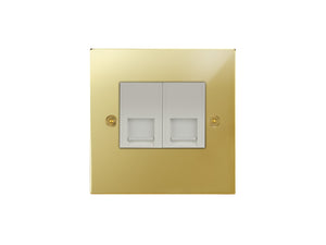 Focus SB Horizon Telephone Slave 2 Gang Socket Polished Brass White Insert