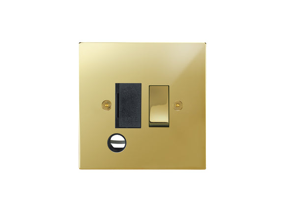 Focus SB Horizon Switched 1 Gang c/w Cord Connection Unit Polished Brass Black Insert