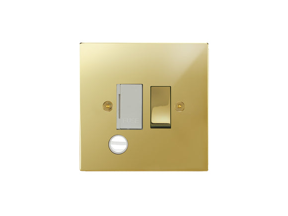 Focus SB Horizon Switched 1 Gang c/w Cord Connection Unit Polished Brass White Insert