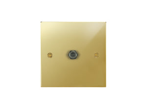Focus SB Horizon 1 Gang Satellilte Socket Polished Brass