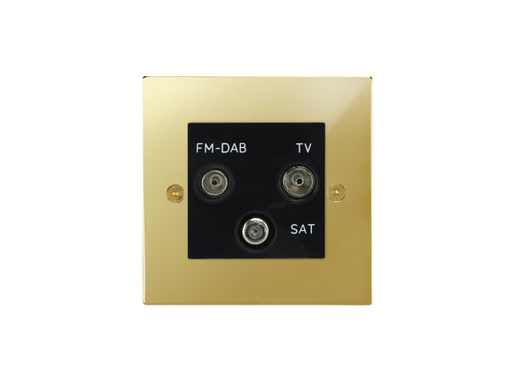 Focus SB Horizon TV/FM/Satellite Triplex Socket Polished Brass Black Insert