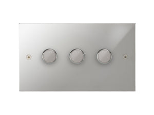 Focus SB Horizon 3 Gang 2 Way Push On/Off Dimmer Switch Polished Chrome
