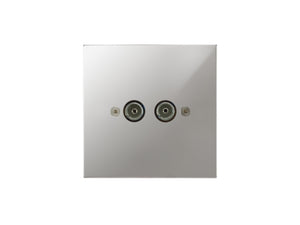 Focus SB Horizon TV Co-Axial 2 Gang Socket Polished Chrome