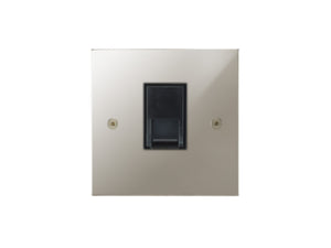 Focus SB Horizon Telephone Master 1 Gang Socket Polished Nickel Black Insert