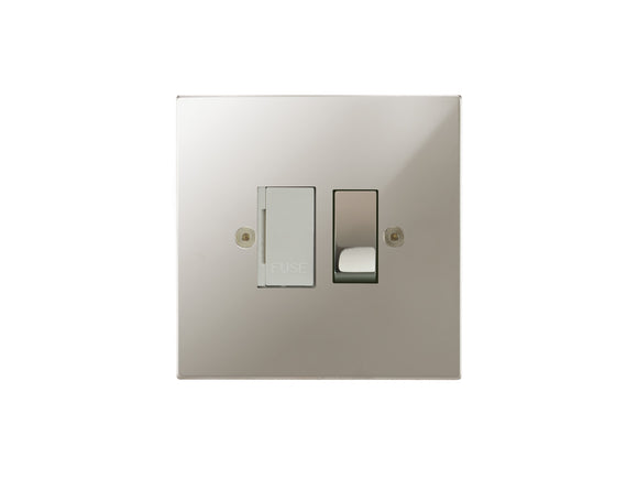 Focus SB Horizon Switched 1 Gang Connection Unit Polished Nickel White Insert