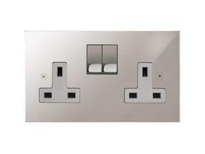 Focus SB Horizon Switched 2 Gang Socket Polished Steel White Insert