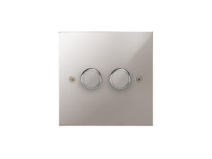 Focus SB Horizon 2 Gang 2 Way Push On/Off Dimmer Switch Polished Steel