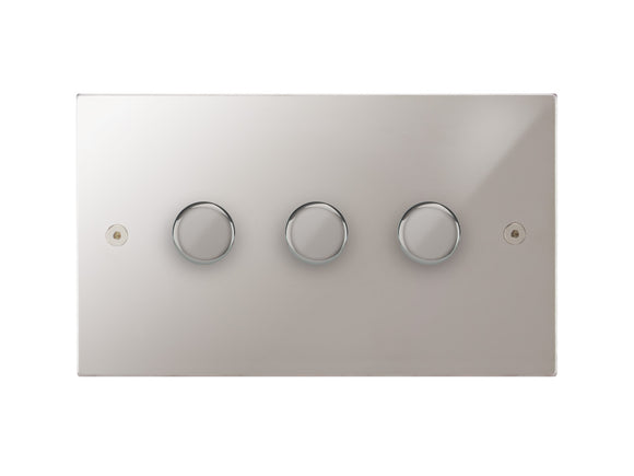 Focus SB Horizon 3 Gang 2 Way Push On/Off Dimmer Switch Polished Steel