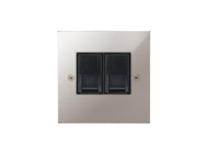 Focus SB Horizon Telephone Master 2 Gang Socket Polished Steel Black Insert
