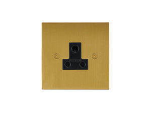 Focus SB Horizon Unswitched 1 Gang Socket Satin Brass Black Insert