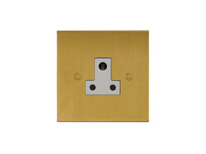 Focus SB Horizon Unswitched 1 Gang Socket Satin Brass White Insert