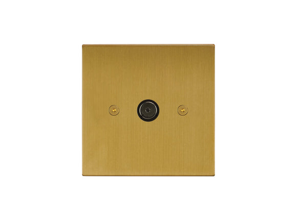 Focus SB Horizon TV Co-Axial 1 Gang Socket Satin Brass